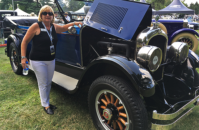 Jensen stands with her 1925 Marmon Phaeton. | William Hall photo