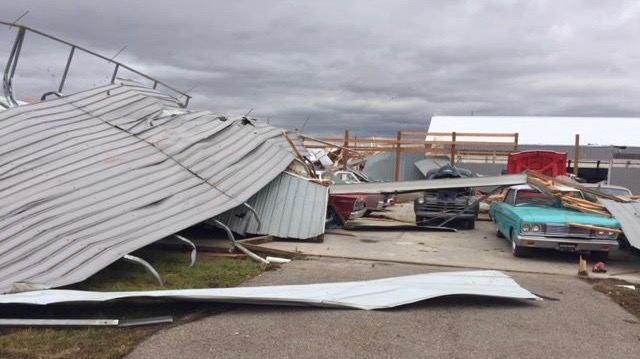 Tornado smacks Illinois collector car dealership rebuilt after 2017 fire