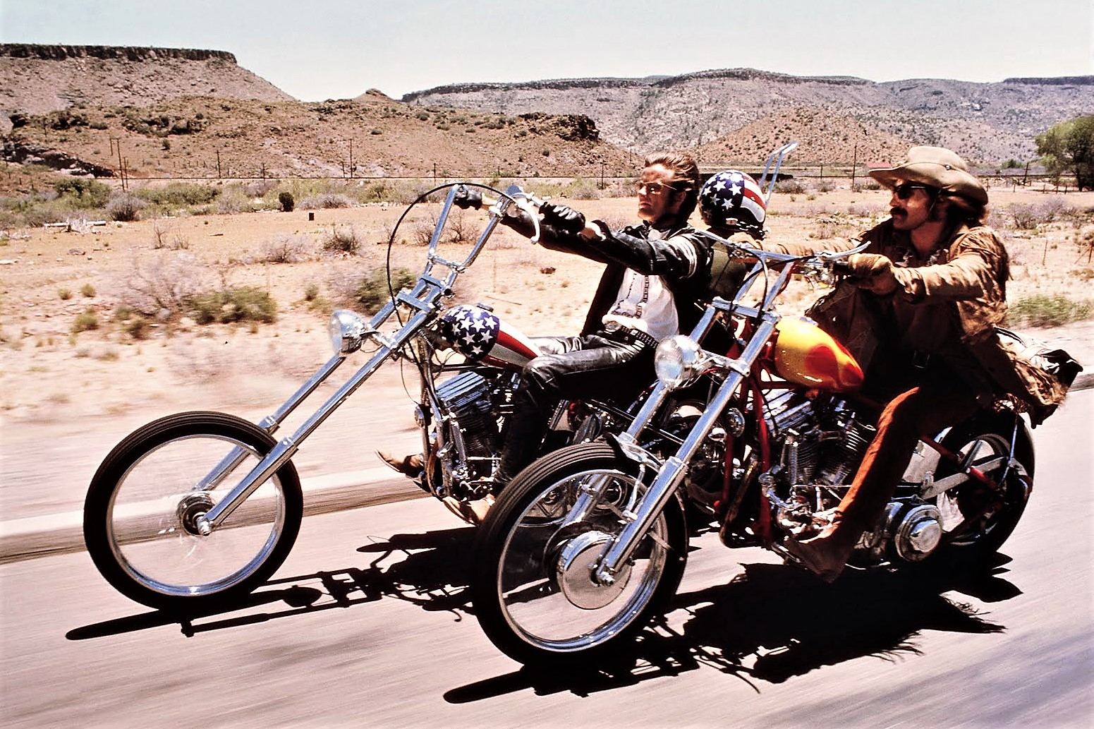 Actors Peter Fonda and Dennis Hopper as the hippie bikers on the road in Easy Rider. | Columbia Pictures