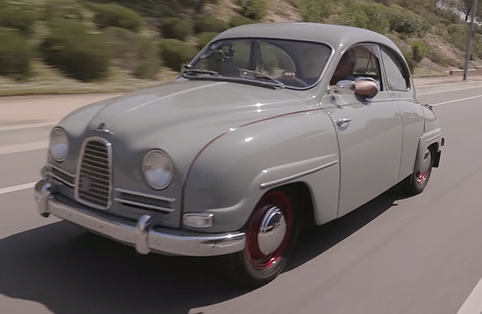 Car guru Jay Leno gave his Saab 93 the full episode treatment. | Screenshot