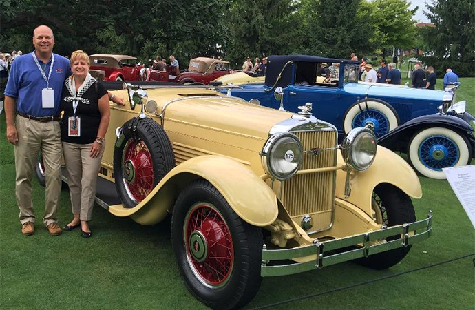 The Jensens pose with their 1930 Stutz Speedster. | Carrol Jensen photo