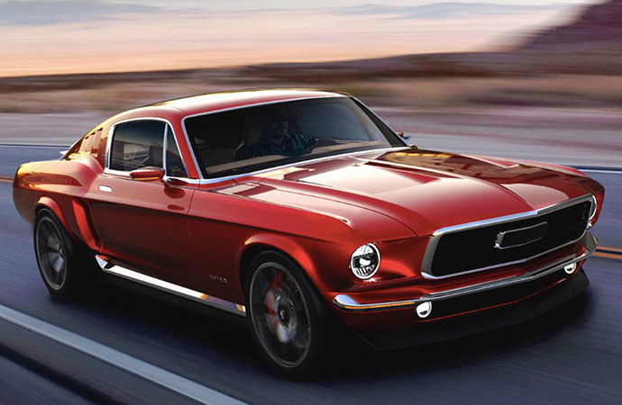 Russian company Aviar wants to build an electric vehicle, the R67, styled like a 1967 Ford Mustang. | Aviar photos