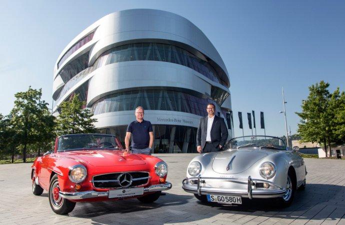 Friendly rivals: Mercedes museum celebrates Porsche museum's 10th anniversary