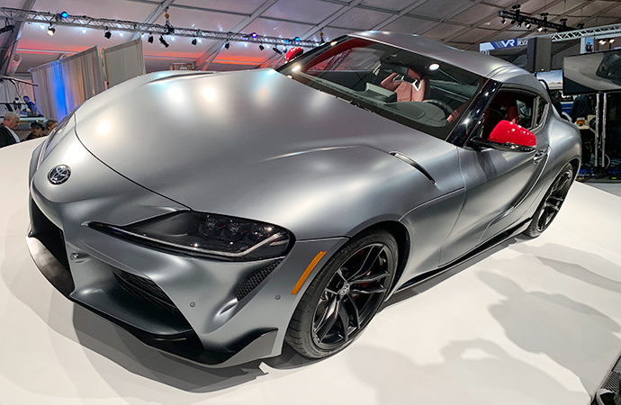 The 2020 Toyota Supra is shown during the Barrett-Jackson unveiling. | Carter Nacke photo