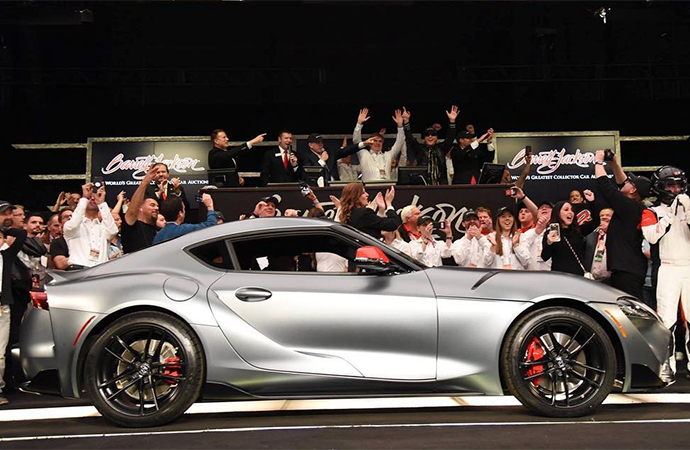 Barrett-Jackson sold the rights to the first production 2020 Toyota Supra on Saturday for $2.1 million. | Instagram photo/@barrett_jackson