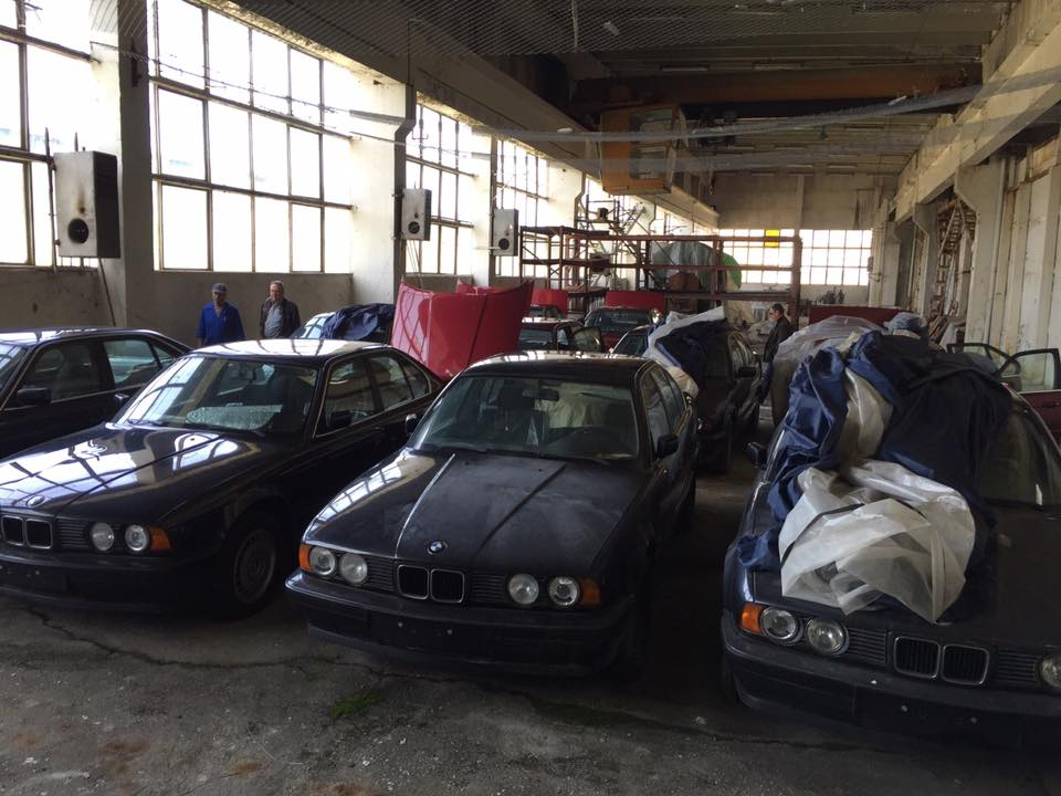 This collection of BMW 5-series has been sitting in a warehouse in Bulgaria for about 20 years.   Facebook photos