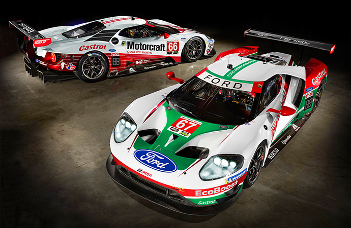 Two Ford GTs wrapped in historic liveries will compete in the Rolex 24 at Daytona. | Ford Performance photo