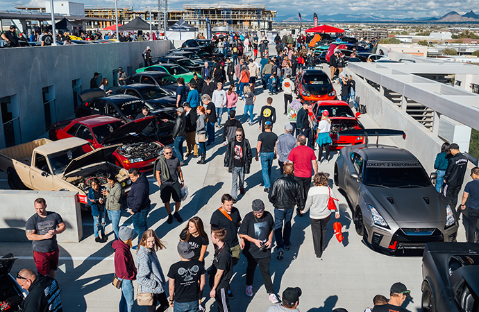 Attendees wander among the entrants at the 2019 Future Classic Car Show in Scottsdale, Arizona. | LXII Photography/Cory Mader