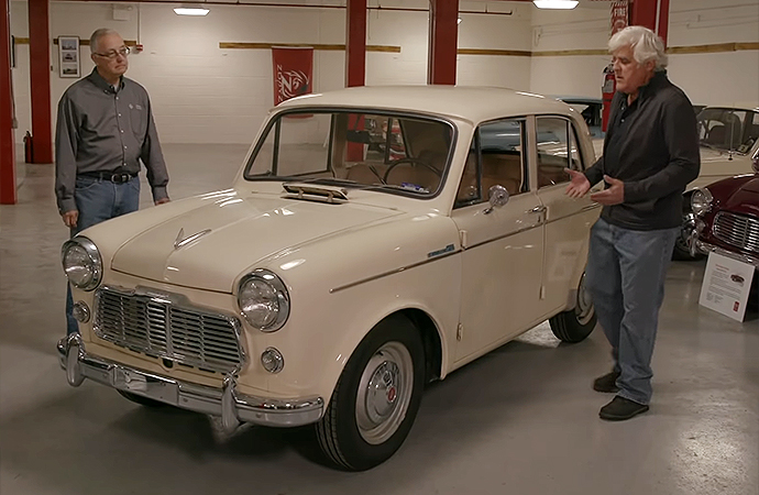 Of all the cars in the Nissan Heritage Collection, Jay Leno was able to drive this 1960 Datsun 1200. | Screenshot