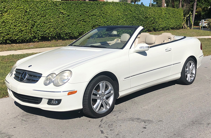 This otherwise unremarkable Mercedes-Benz CLK350 cabriolet was the final car auctioned off during the 2019 Barrett-Jackson collector car auction in Scottsdale, Arizona. | Barrett-Jackson photo