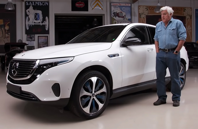 Jay Leno was one of the first to inspect the new all-electric SUV from Mercedes-Benz, the EQC, which won't be released in the U.S. until next year. | Screenshot