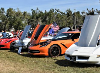Corvettes join Winter Autofest; car-theme painted Fender guitar
