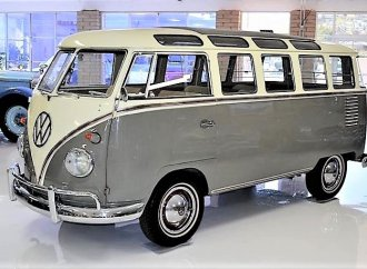 Early VW 23-window Samba bus that's been restored with flair