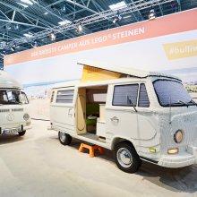Vintage VW camper van, but made of Lego blocks