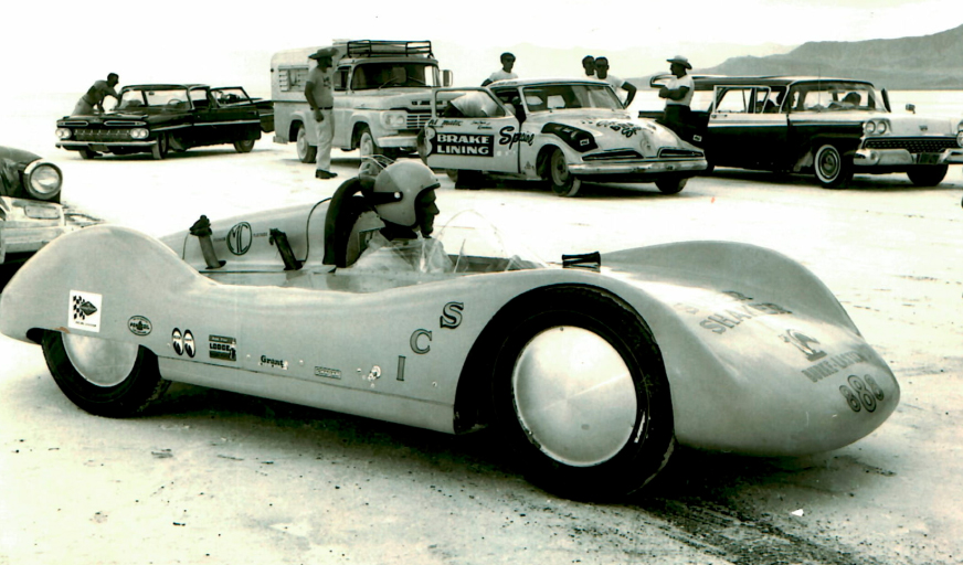 Burke sits in the Super Shaker at Bonneville. | Mecum photo