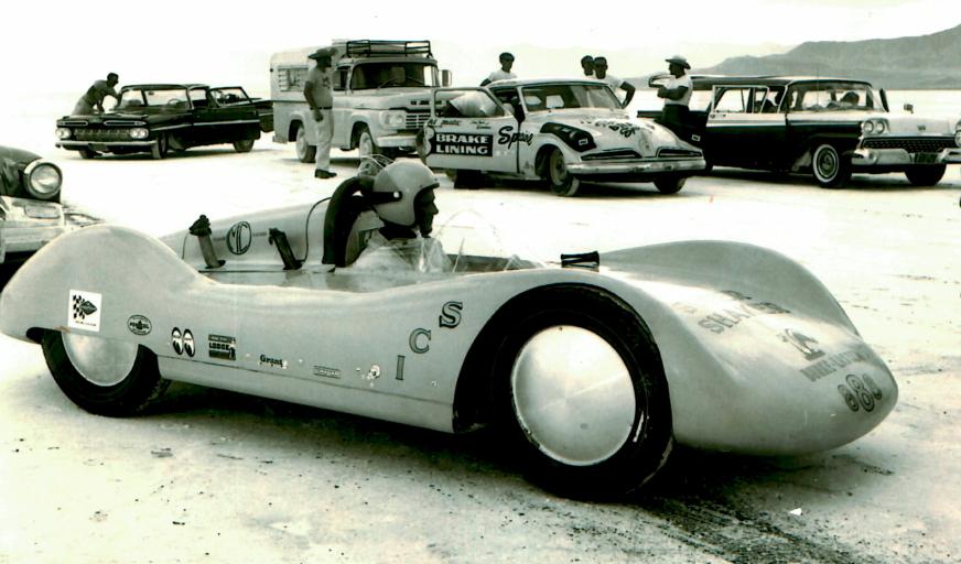 Burke sits in the Super Shaker at Bonneville. | Mecum photo