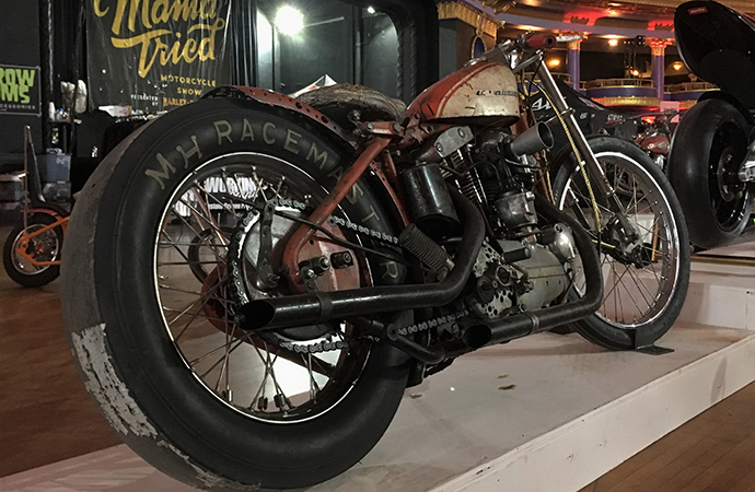 The competition vibe of this 1960 Harley-Davidson XLCH dragster from Full Moon Cycles makes it my pick for Best Den Art at the Mama Tried motorcycle show. | William Hall photos