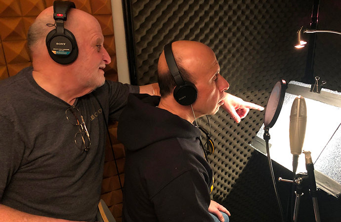 The Last Open Road author Burt Levy (left) gives script instructions to Jim Pittacora, who plays the mean-spirited Mr. Palumbo in the new audiobook. | Burt Levy photo