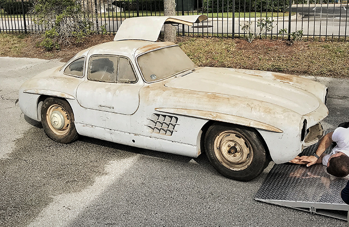 A 1954 Mercedes-Benz 300SL Gullwing coupe that hasn't been driven in decades will be at this year's Amelia Island Concours d'Elegance -- dust and all. | Mercedes-Benz Classic Center photos