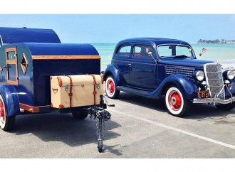 Vintage matched pair: 1935 Ford Tudor with camping trailer
