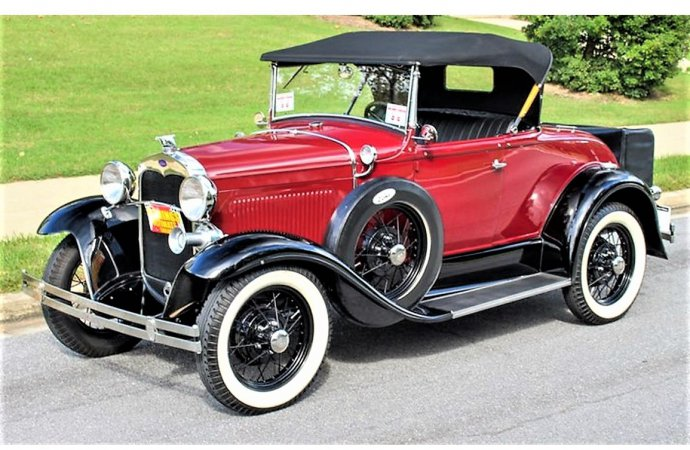 Ford Model A rumble-seat roadster in restored condition