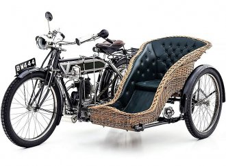 Antique 1911 Singer motorcycle with unusual wicker sidecar