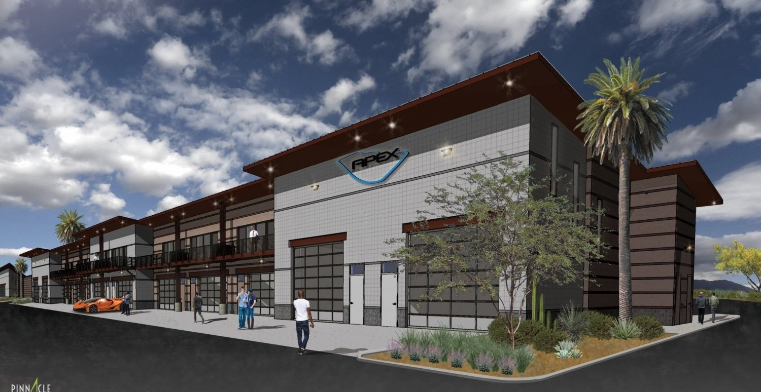 This rendering shows some of the future structures at Apex. | Apex Motor Club photo