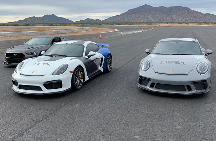 Cars await their drivers at the newly built Apex Motor Club near Phoenix, the nation's newest motorsports country club. | Carter Nacke photo