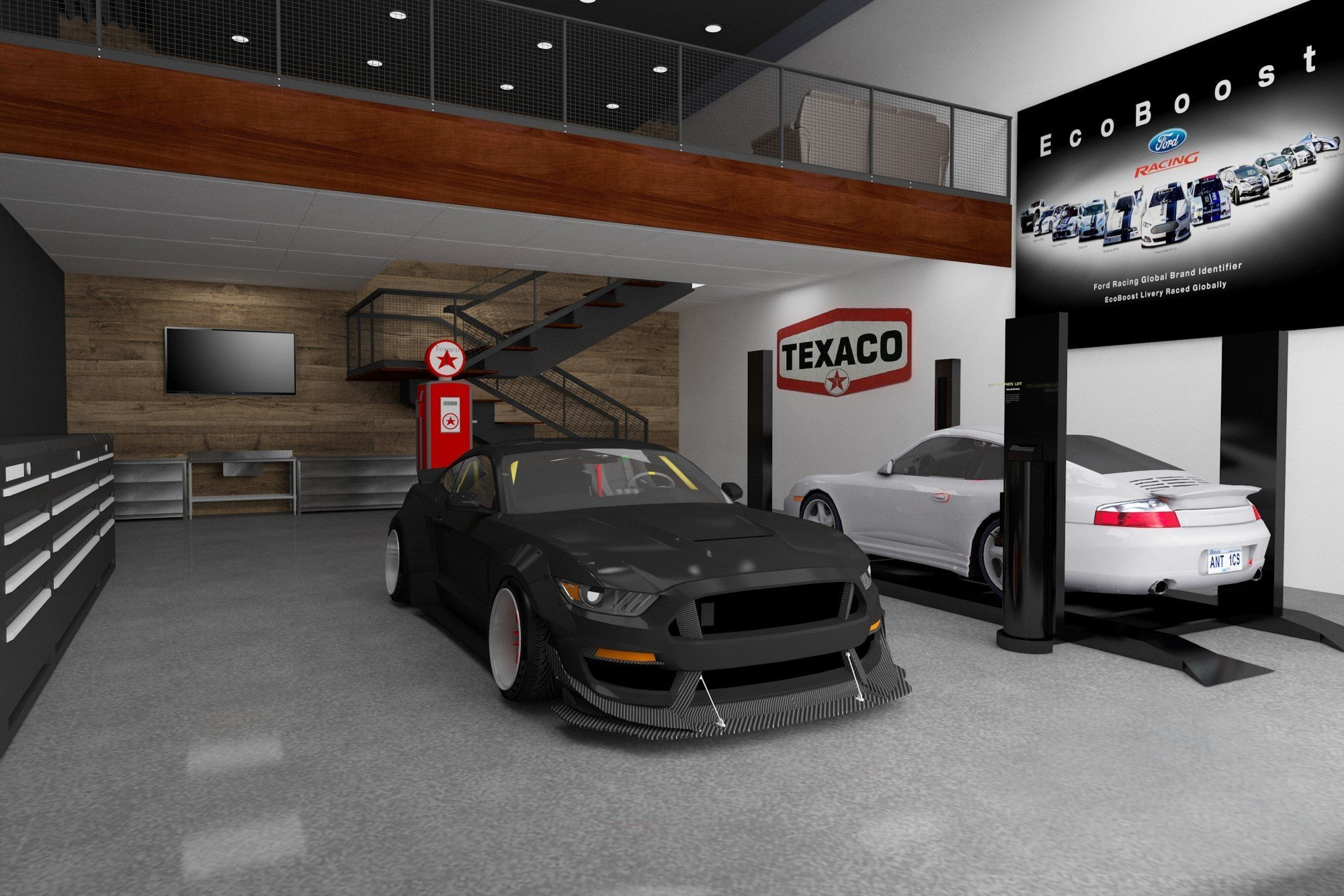 This rendering shows one concept that can be used in the fully customizable garage. | Apex Motor Club photo