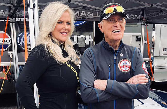 Patricia (left) and Bob Bondurant are shown at the 2019 Barrett-Jackson auction in Scottsdale, Arizona. The chief restructuring officer said the pair plans to sell the Bob Bondurant School of High Performance Driving in the coming weeks. | Instagram photo/@bondurantschool