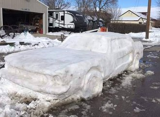 Frozen asset: Family builds lifelike classic Ford Mustang out of snow