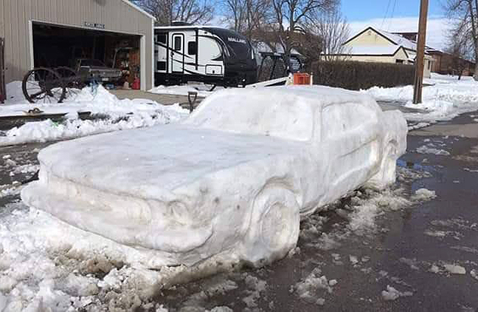 A Nebraska family has gone viral online after creating the #SnowPony, a Ford Mustang made entirely from snow. | Nebraska State Patrol photo