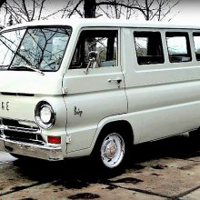 Stylish Dodge A100 window van powered by a V8 engine