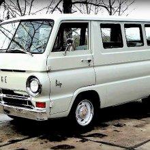 Stylish Dodge A100 window van powered by a V8 engine