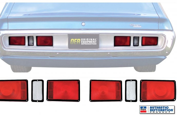 Reproduction taillight lenses made for 1971 Dodge Chargers