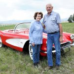 Duke and Jan Hamberger with St. Jude Corvette