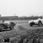 Peter Collins leads in DB3S2 at Aintree ahead of Masten Gregory in his Ferrari 375MM_Courtesy of GPL Images