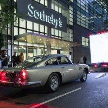 James Bond movie promo car on display in NYC