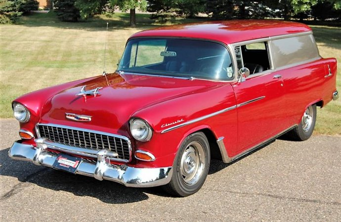 Little delivery van with maximum style, 1955 Chevy Sedan Delivery Street Rod