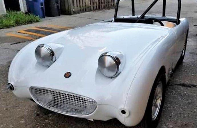 Freshly done 1960 Austin Healey Bugeye Sprite set up for vintage racing