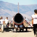 Jessi Combs approaches the car before her speed-record attempt