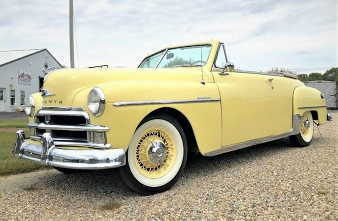 Rarely seen 1950 Plymouth convertible on a set of vintage wire wheels