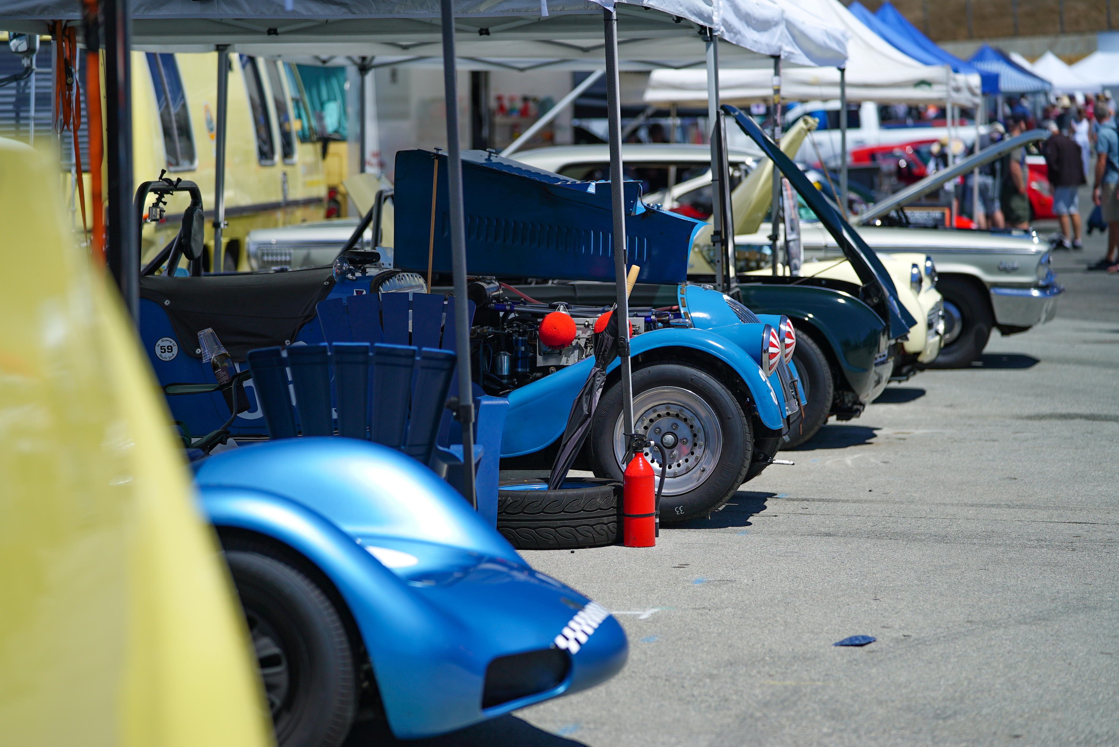 Enthusiast owned cars pits at Laguna Seca