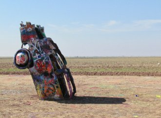 Fire damages paint but not structure of Cadillac Ranch vehicle