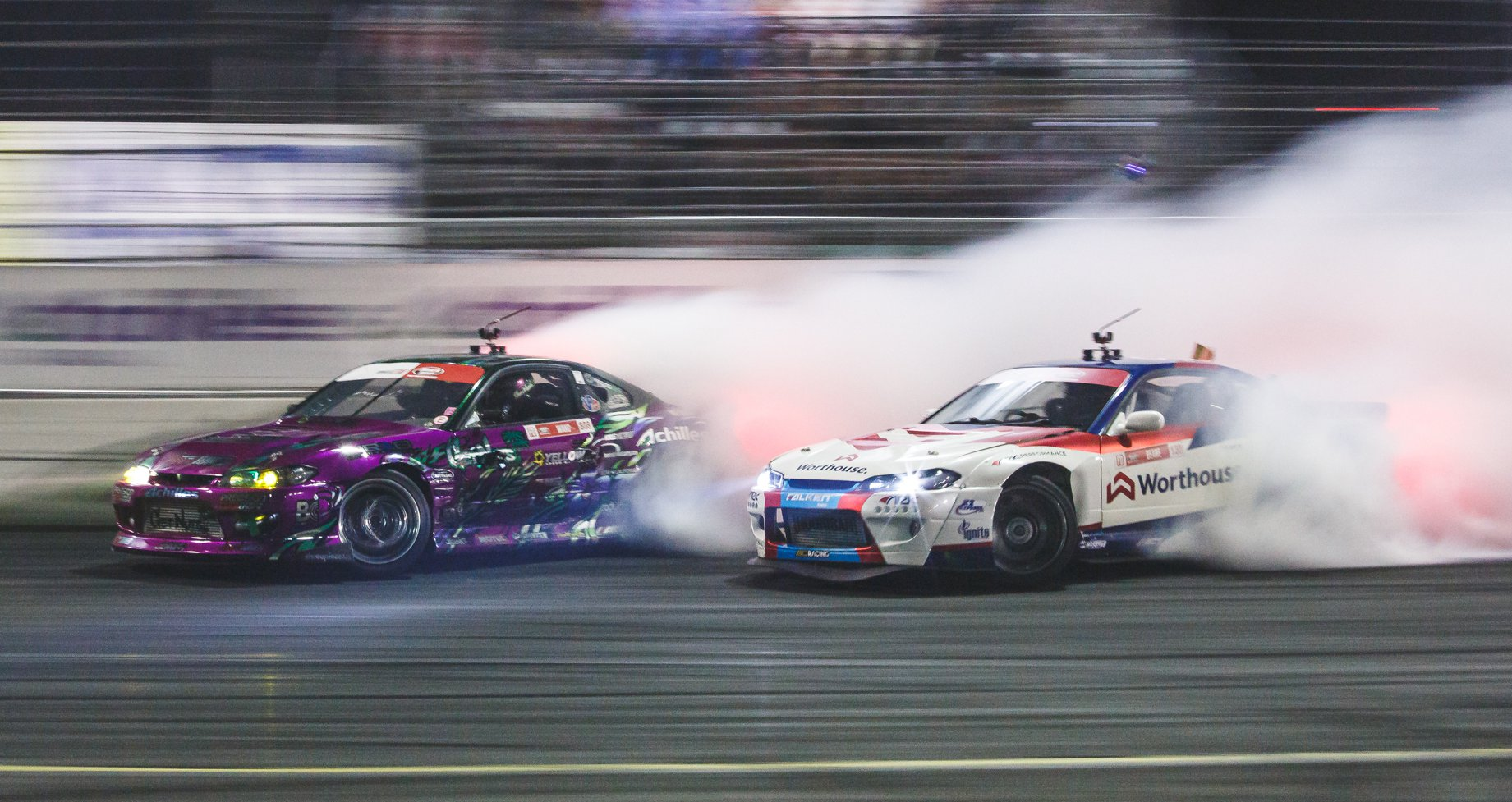 Forrest Wang and James Deane battle at Formula Drift Irwindale
