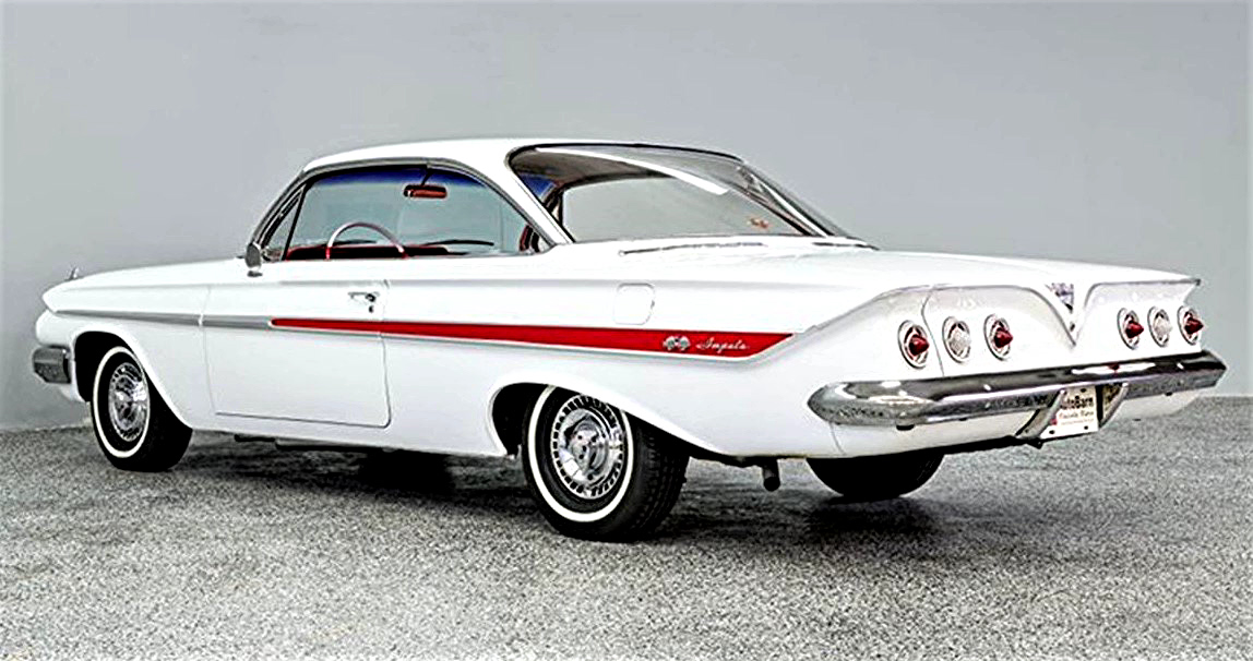 Bubbletop 1961 Chevrolet Impala Coupe In White And Red