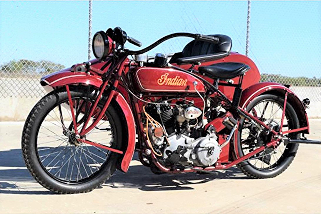 1923 Indian motorcycle with sidecar and claimed Steve McQueen ownership