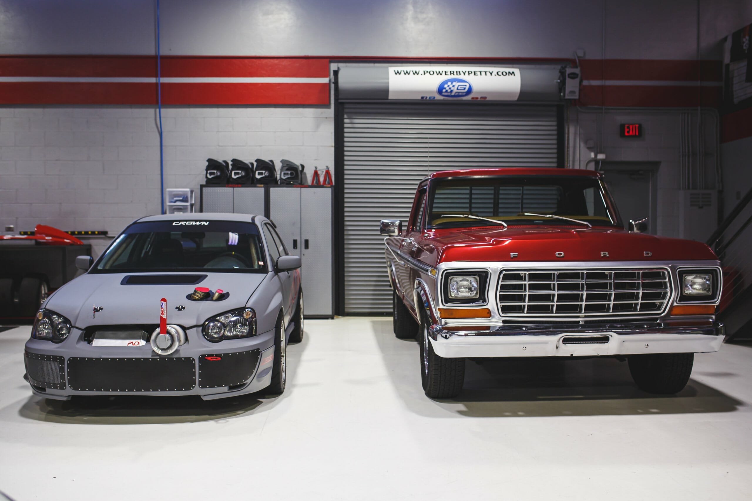 Custom Subaru build by the Crown Concepts team, next to a client classic Ford | Daniel Nikkhoo photos